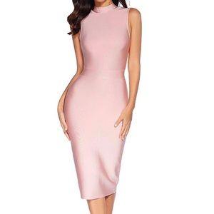 Meilun High Collar Bodycon Pink Dress